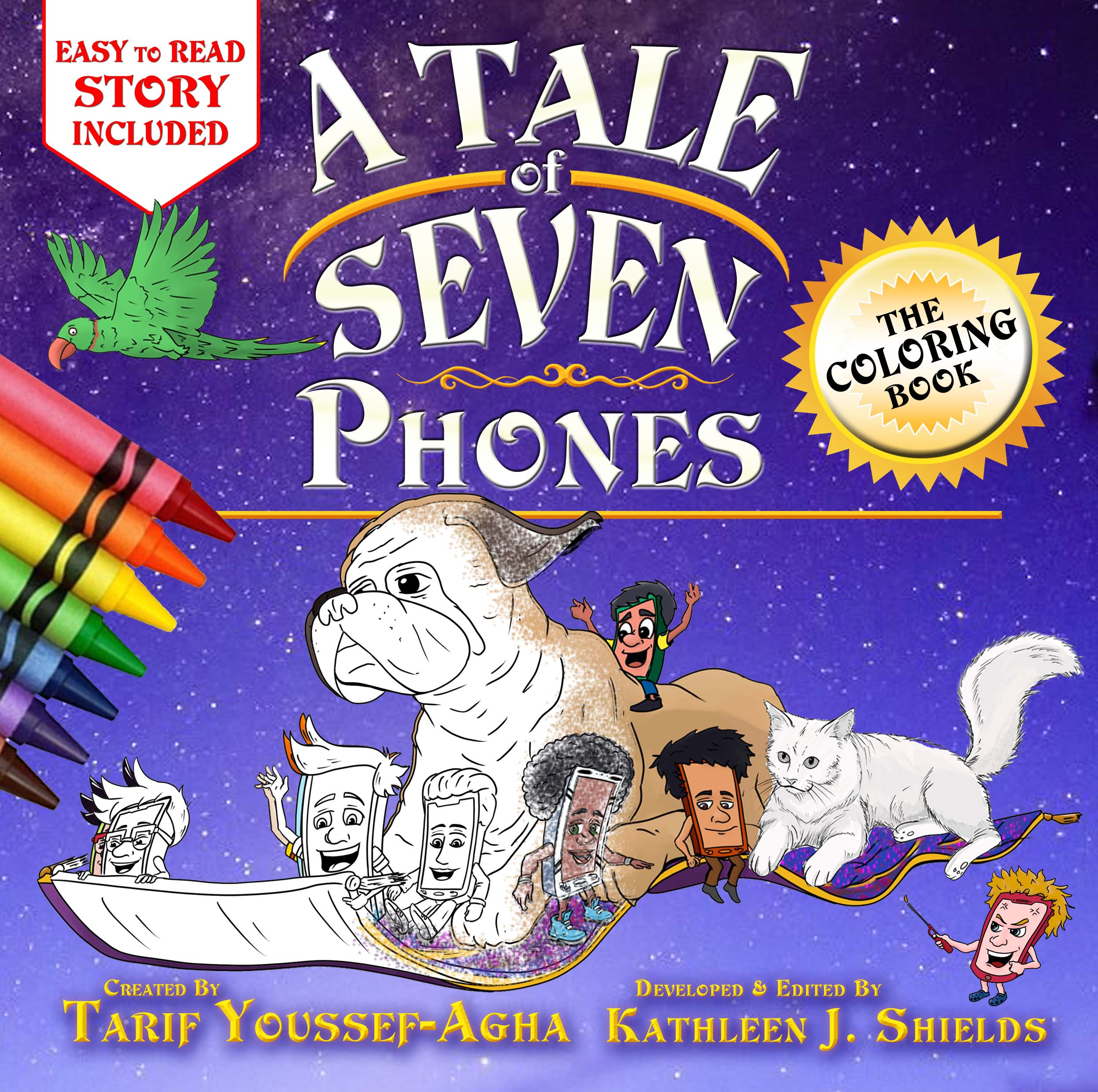 A Tale of Seven Phones, The Coloring book by author Tarif Youssef-Agha